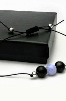 Shungite and Blue Lace Agate 8mm Bracelet