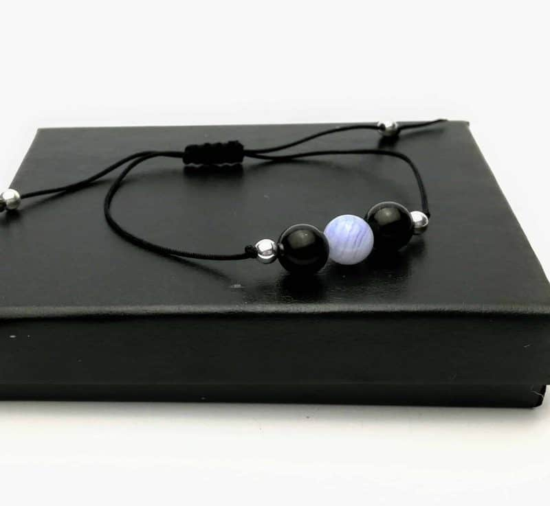 Shungite and Blue Lace Agate Luxury Beaded Jewellery