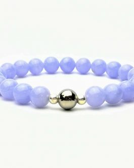 Blue Lave Agate 8mm Beaded Bracelet