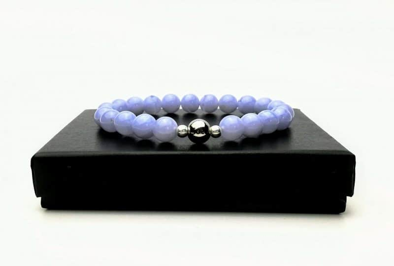 Blue Lace agate bead bracelet