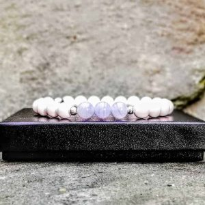 Tridacn and Blue Lace Agate Beaded Bracelet