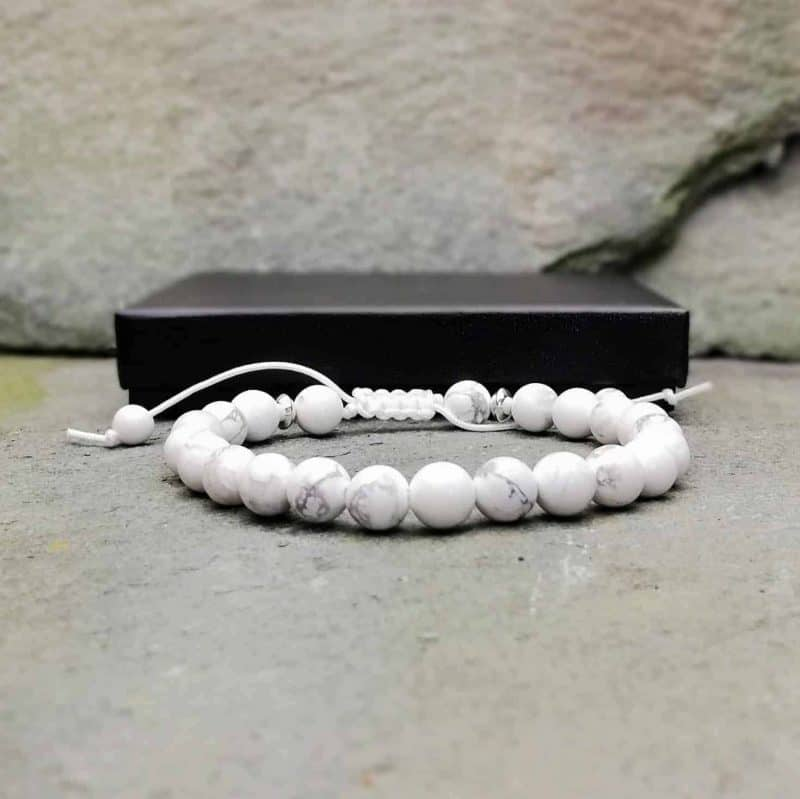 white howlite and sterling silver bead bracelet