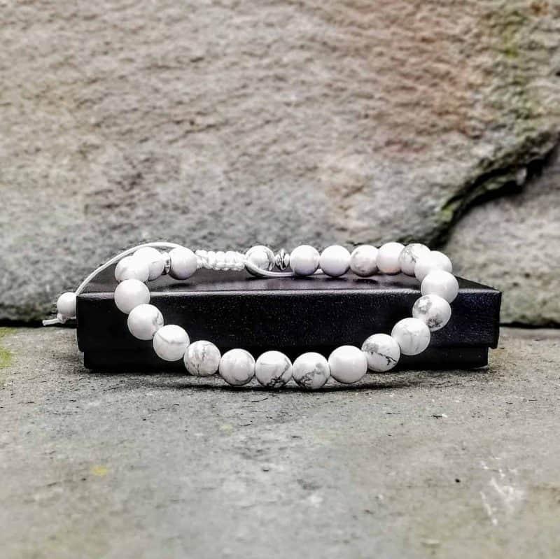 White Howlite and Silver 8mm Bead Bracelet
