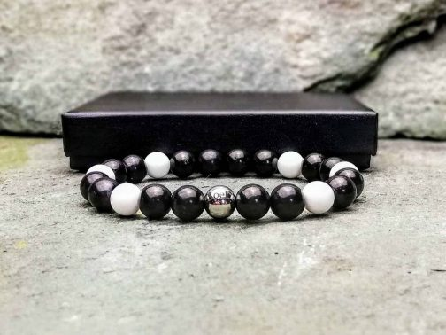 Shungite and Tridacna Beaded Bracelet