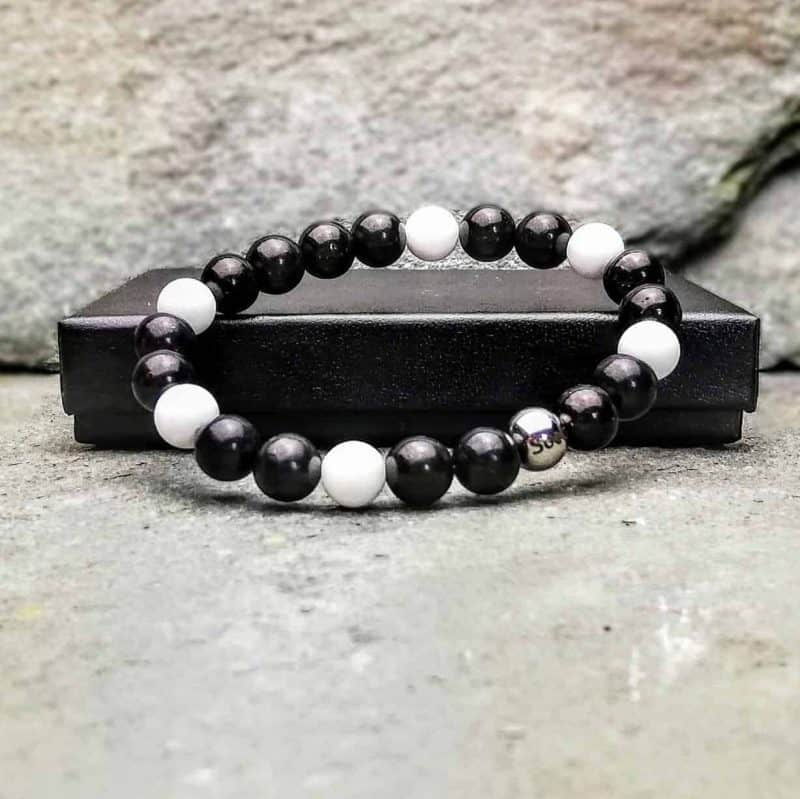Tridacna and Shungite Beaded Bracelet