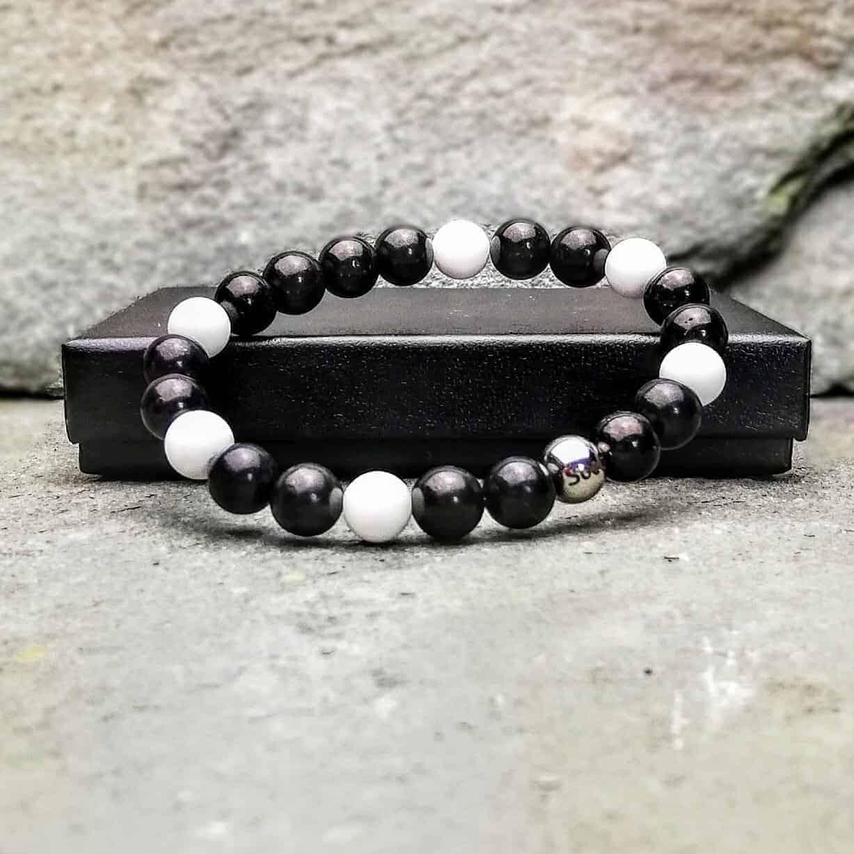 Tridacna and Shungite Beaded Bracelet