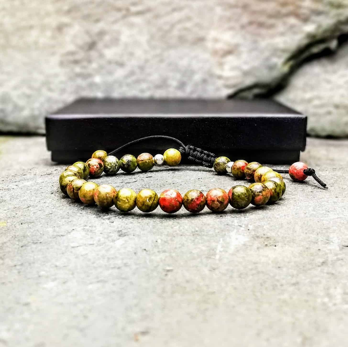 unakite 6mm beaded bracelet