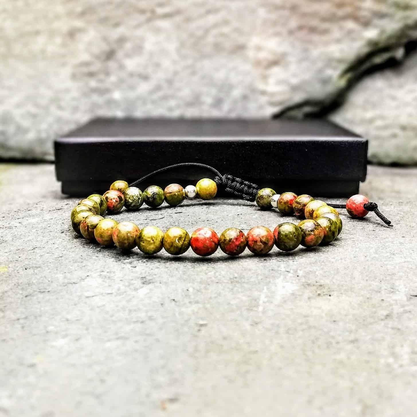 unakite 6mm beaded bracelet