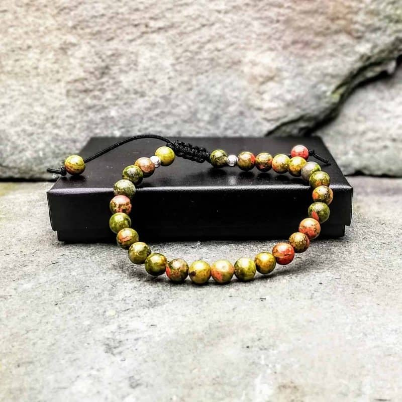 6mm unakite beaded bracelet