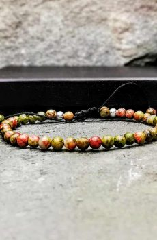 4mm unakite and sterling silver beaded bracelet