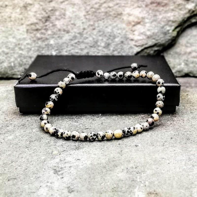 4mm dalmatian jasper beaded bracelet