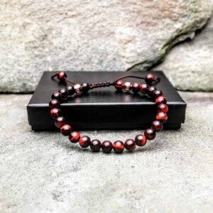 Red tigers eye 6mm slide knot bracelet
