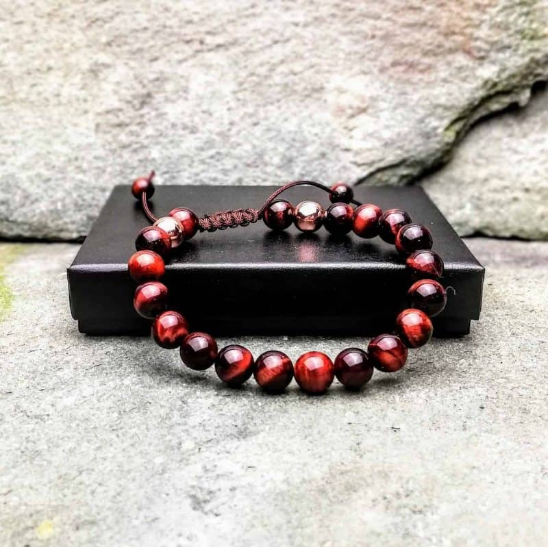 Red Tigers Eye Beaded Bracelet with Slide Knot. 8mm