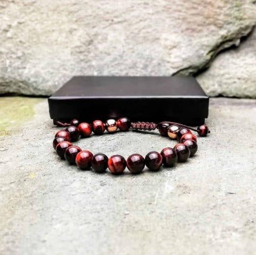 Red Tigers Eye Slide Knot 8mm Bracelet