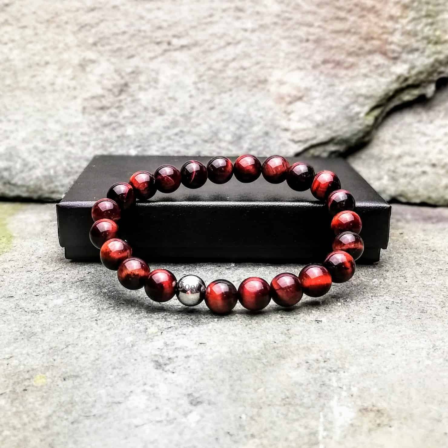 red tigers eye beaded bracelet