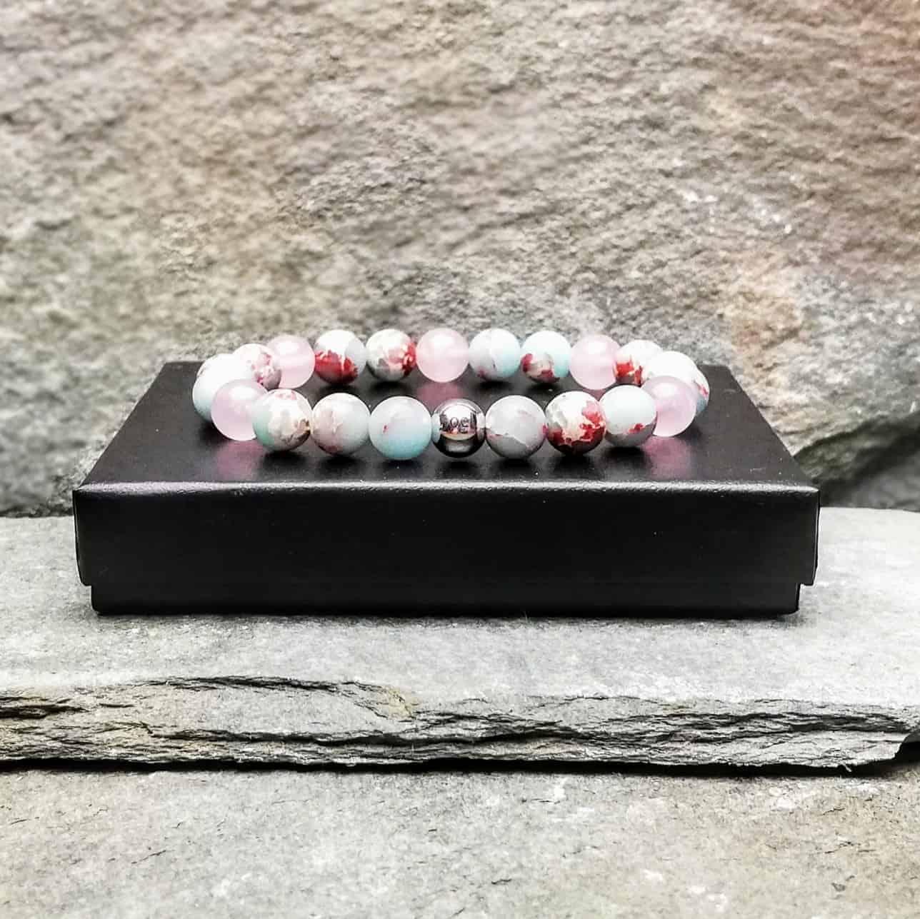 emperor jasper and rose quartz bracelet