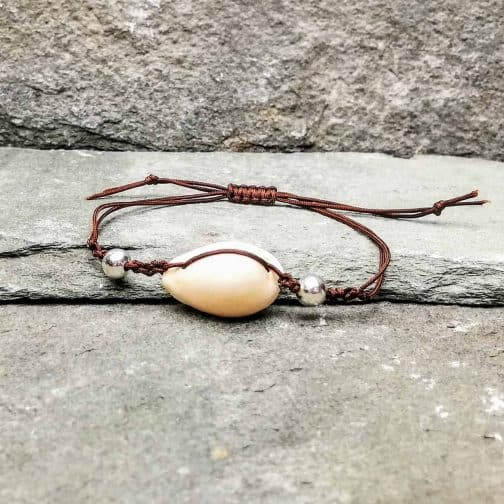 Cowrie shell silver beads