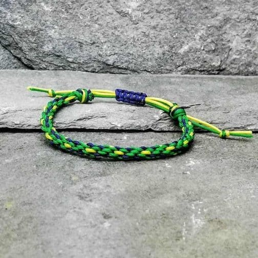 blue, green and yellow braided bracelet