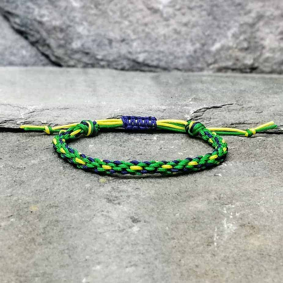 green, yellow and blue braided bracelet