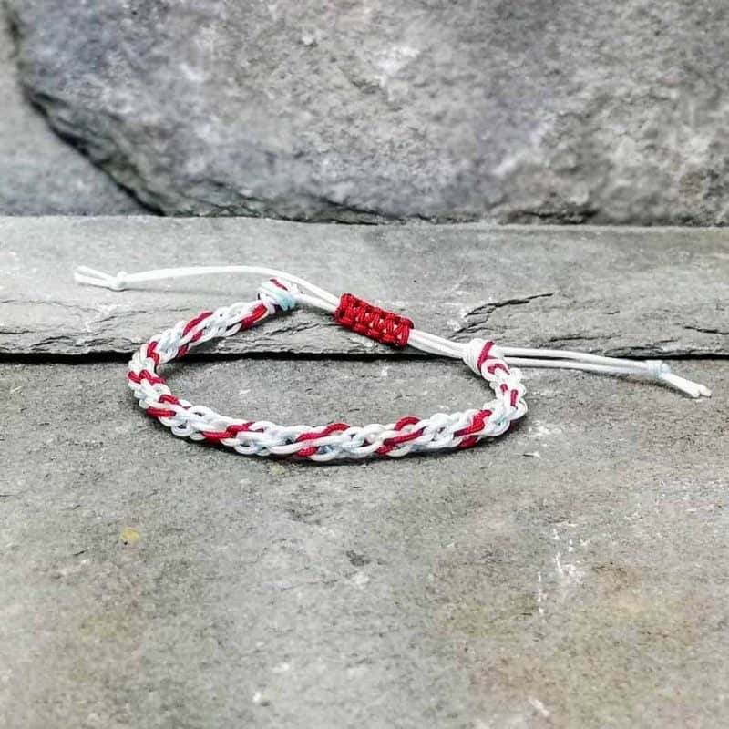 white, red and turquoise braided bracelet