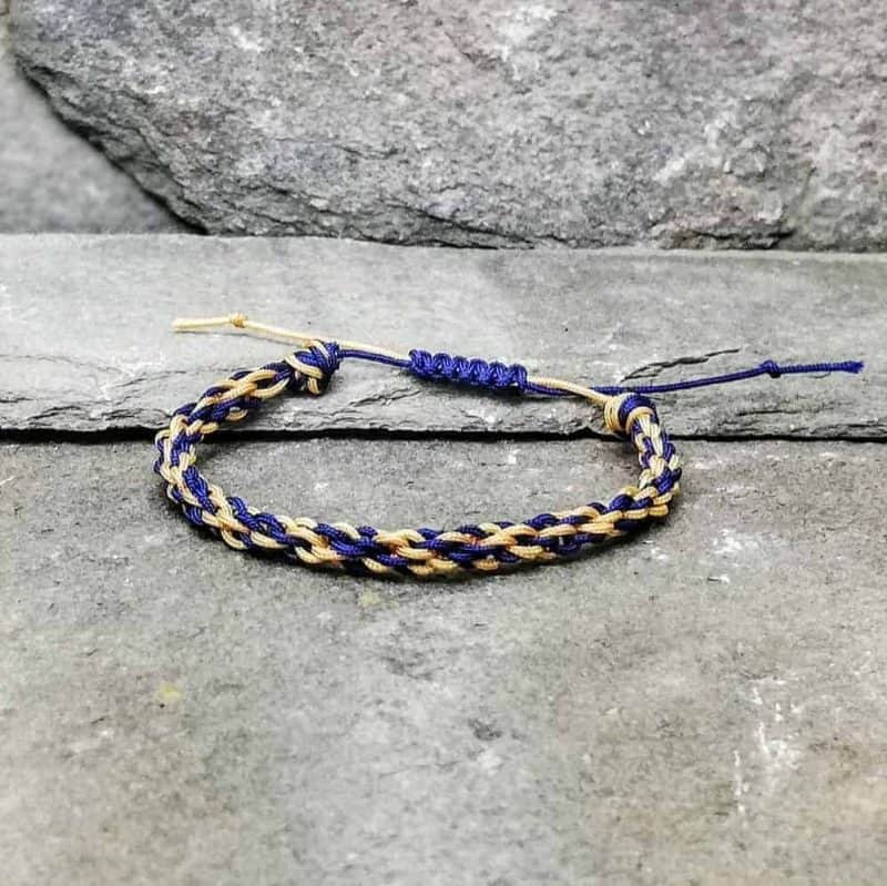 blue and gold braided bracelet