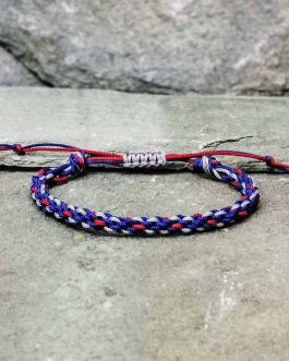 blue, red and grey braided bracelet