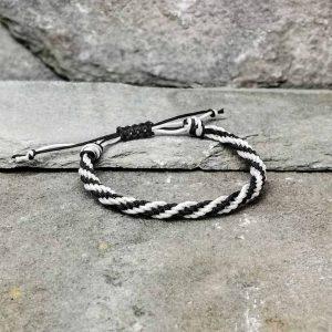 Black and white braided bracelet