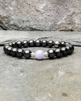 Hematite and Blue Lace Agate Bead Bracelet