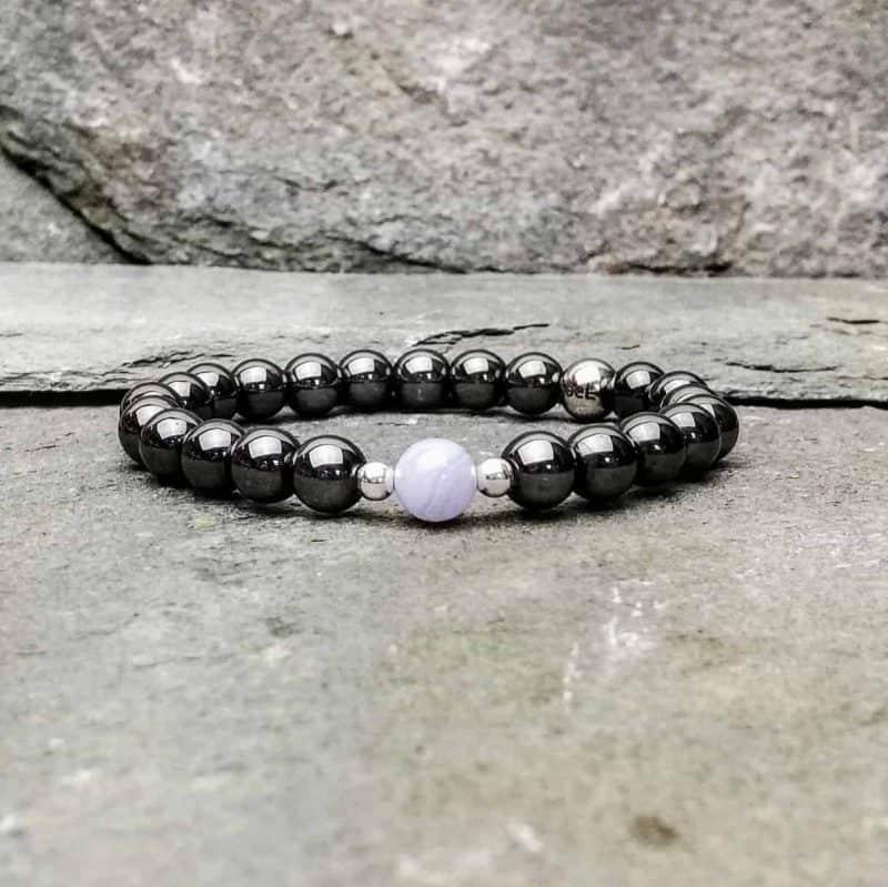 Hematite and Blue Lace Agate Bead Bracelet