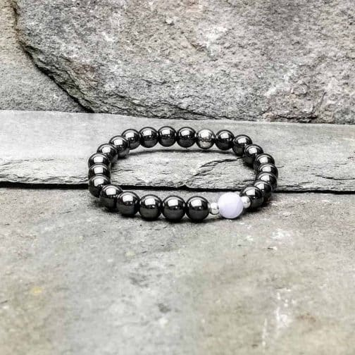 Blue Lace Agate and Hematite Beaded Bracelet