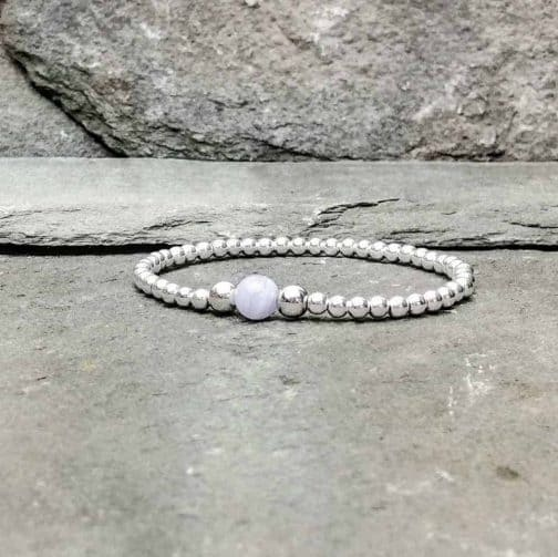 Sterling Silver and Blue Lace Agate Bracelet