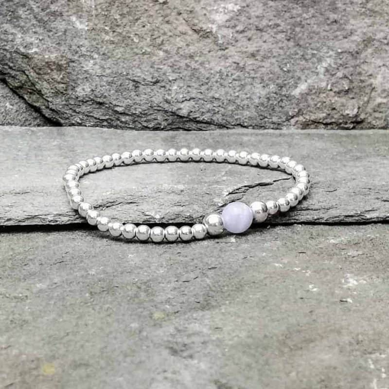 Blue Lace Agate and Sterling Silver Bracelet