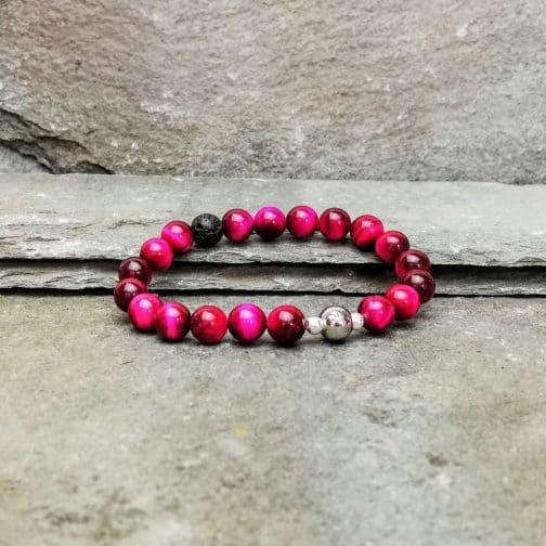 Pink Tigers Eye Beaded Diffuser Bracelet