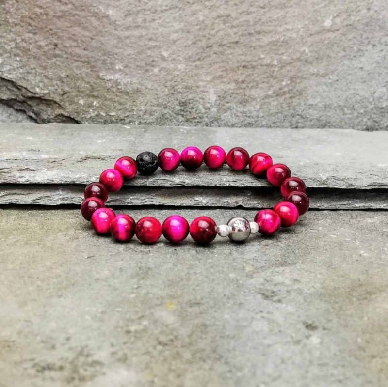 Pink Tigers Eye Beaded Diffuser Bracelet