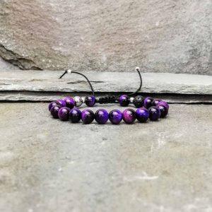 Purple tigers eye beaded bracelet diffuser