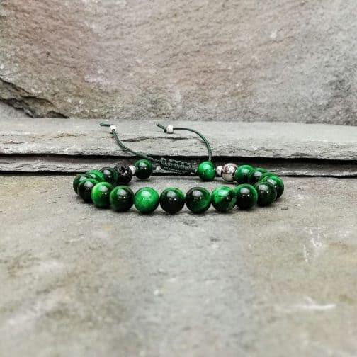 Green Tigers Eye Beaded Bracelet