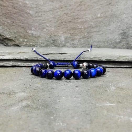 Blue Tigers Eye Beaded Diffuser Bracelet