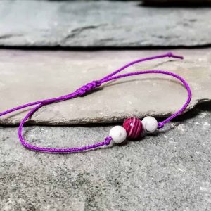 Pink Agate and Howlite 3 Stone Beaded Friendship Bracelet