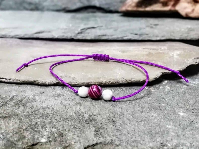 Pink Banded Agate and Howlite Beaded Friendship Bracelet