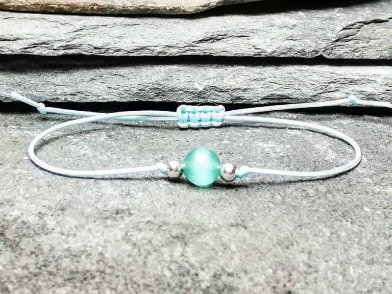 Cats Eye Bead Bracelet with Sterling Silver