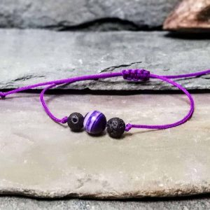 Purple Agate and Lava Stone 3 Stone Beaded Diffuser Bracelet