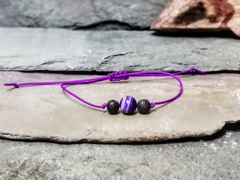 Purple Agate and Lava Stone Friendship Bracelet