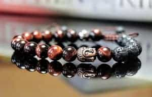 Red Tigers Eye and Lava Stone Beaded Adjustable Buddha Charm Diffuser Bracelet