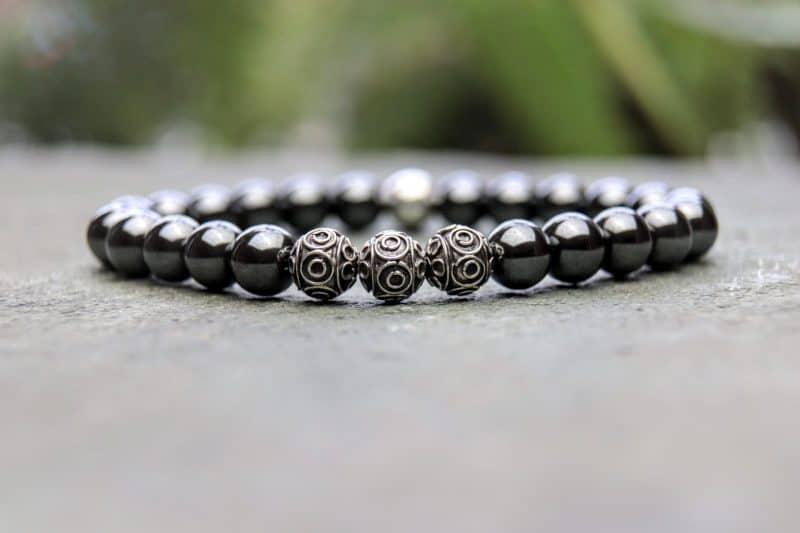 Hematite and Sterling Silver Beaded Bracelet 8mm