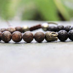 Bronzite, Pyrite and Lava Stone Buddha Beaded Bracelet