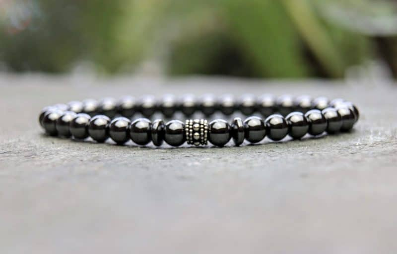 Hematite and sterling silver beaded bracelet