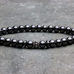 6mm Hematite and sterling silver beaded bracelet