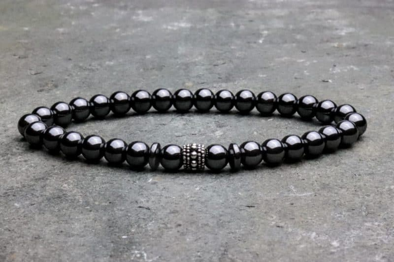 6mm Hematite and sterling silver beaded bracelet