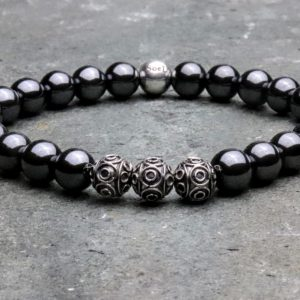 Hematite and Sterling Silver Beaded Bracelet