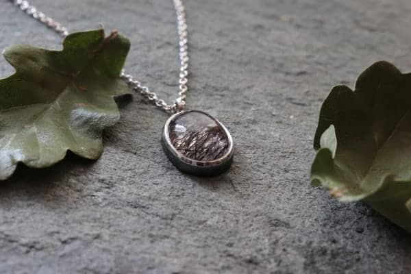 Rutilated Quartz and Sterling Silver Pendant